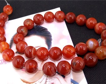 """Red Agate 12mm Gemstone beads Loose One strand 15"""""""