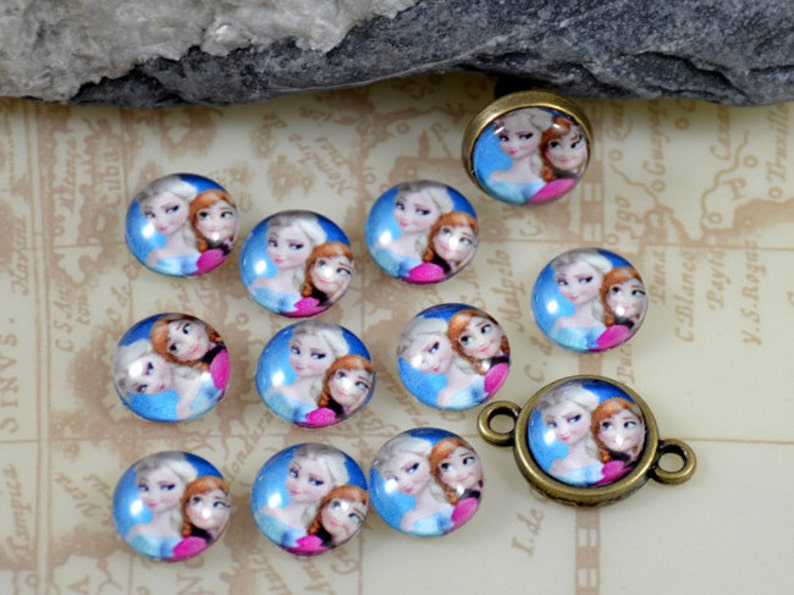 Frozen Elsa Anna Handmade photo glass cabochon glass dome 10mm 12mm 14mm 16mm 18mm 20mm 25mm 30mm For Earring Brooch Ring Necklace Bracelet