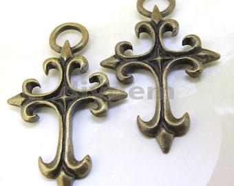 4PCS Large Charm Cross Base Pendant Beads Bronze Plated Brass Jewelry Filigree Link Findings  Pendant Earwire Beads 48mmx30mm O