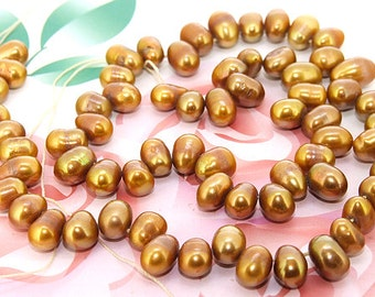 Loose coffee  rice 6mmx 8mm freshwater cultured Pearl beads FULL STRAND