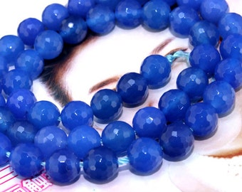 """Faceted Blue Agate 8mm Gemstone beads Loose One strand 15"""""""