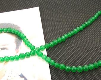 "Loose Gemstone green jade gemstone 4mm bead full 2strands 15.5"""