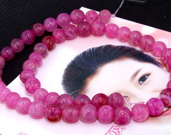 "Super Round Purple Agate 8mm Gemstone beads Loose One strand 15.5"""