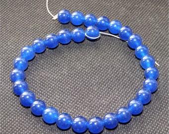 "Round Blue Jade 8mm Gemstone 30beads Loose One strand 9"""