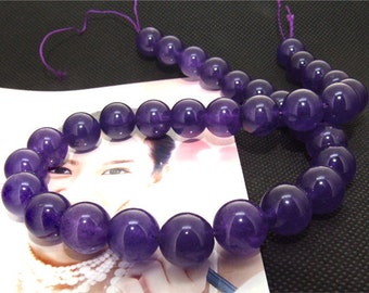Strands 12mm purple jade round bead Loose One strand