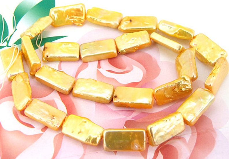 Loose beads gemstones 9mmx16mm rectangle Yellow Pearl freshwater cultured  Pearl beads full one strand