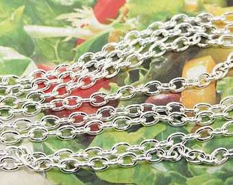 "Long One Chain  egg Loop Plated Silver on Copper Metal   Chain 2mmx3mm--- 38"" --1meter"