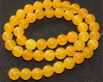 Round Yellow Jade 9mm Gemstone beads Loose One strand