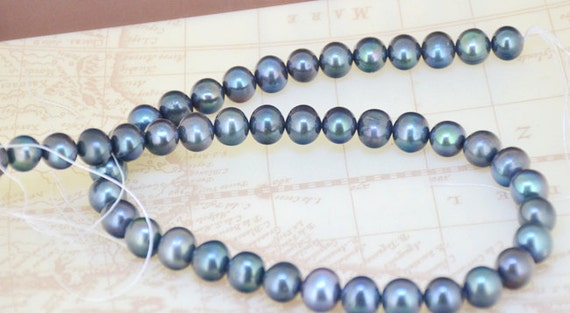 Loose Black Pearl Strand 9mm Oval freshwater cultured pearl bead Luster Pearl Gemstone Bead Whosale Pearl Full One Strand