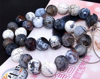"""Faceted Agate 12mm Gemstone beads Loose One strand 15"""""""