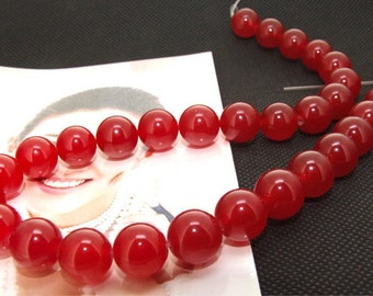 Strands 12mm red jade round bead Loose One strand
