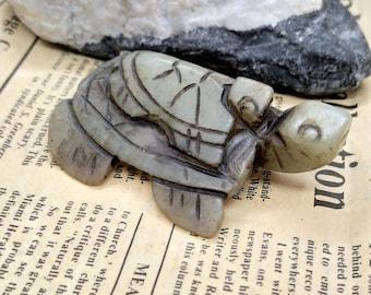 Carved Longevity turtle Jade Pendant, 3D tortoise black Jade Pendant , Animal Amulet Jade pendant Necklace gemstone bead jewelry supplies MX