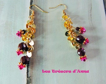 Cascades of burgundy pearls and fuchsias roses