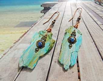 copper earrings ear hooks and slices of blue opals old beads