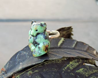 "Turquoise carved ""Carpathian Bear"" 27 * 24mm ring silver925"