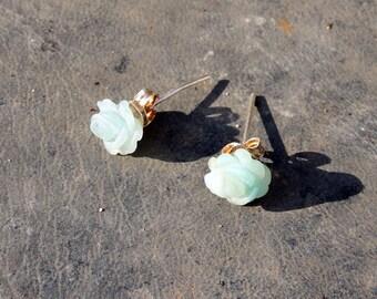 Roses in Amazonites earrings of 8 mm 925 silver stems