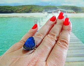 Adjustable ring 925 boulder opal from Australia 19 * 15mm
