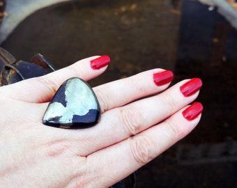 Pyrite gold metal adjustable ring 35 / 30mm
