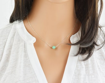 Turquoise Necklace, Dainty Choker, Small Turquoise Necklace, Bridesmaid Gift, Delicate Necklace, Charm necklace (0511N)