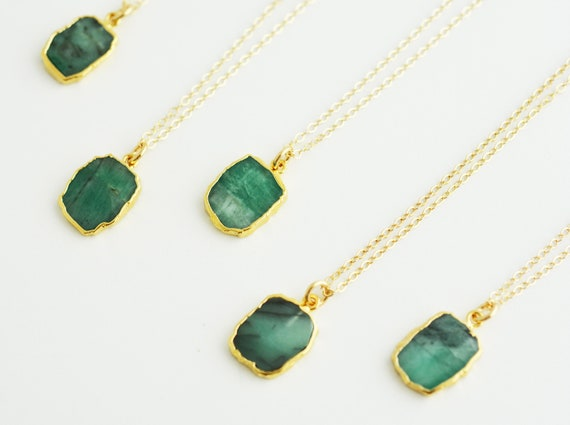 Raw Emerald Slice Necklace Bezel Set Emerald Necklace In Etsy