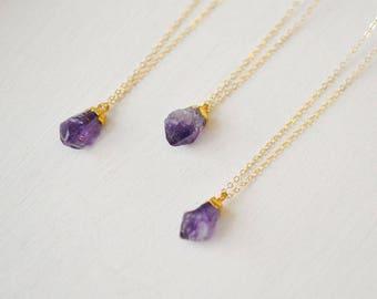 Raw Amethyst Necklace, Gold Amethyst Necklace, Amethyst Necklace, February Necklace, Amethyst Pendant (0208N)