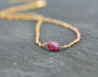 Pink Spinel necklace, Pink Sapphire Necklace, Bridesmaid Gift, Wedding Necklace, Pink Necklace, Gift, Moms Gift, Mothers Day Gift (0505N)