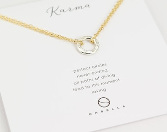 Small Karma Necklace, Hammered Circle Necklace, Eternal Circle Necklace, Simple Necklace, Everyday Necklace, Holiday Gift (0036N)