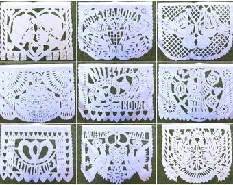 LARGE Wedding Papel picado Mexican Papel Picado paper banner white color string attached with 10 flags Mexico Assorted Designs