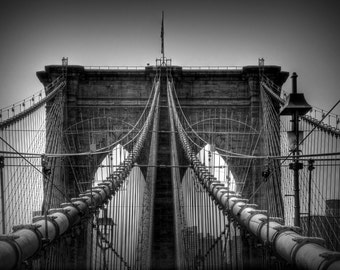 Brooklyn Bridge Photograph, New York City, Black and White, Monochrome Photography, Wall Art Print, Architecture, Home Decor, Manhattan