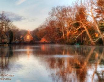 Morning Light on Lake Afton, Landscape Photography, Reflection, Old Library, Church, Bucks County, Pennsylvania, Yardley, Art Print