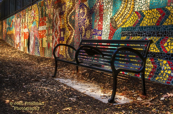 Philadelpia Park Bench And Mural Color Photograph Sun Ra Etsy