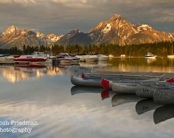 Mount Moran and Jackson Lake in Morning Light Fine Art Photograph Grand Teton National Park Colter Bay Marina Landscape Photo Reflection