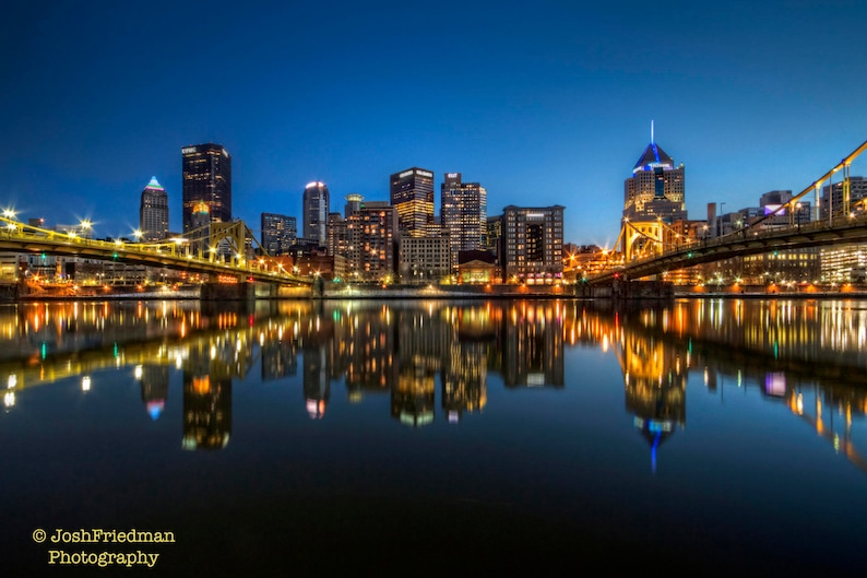 Pittsburgh Skyline and Reflection Photograph Night Andy Warhol Bridge  Roberto Clemente Bridge Photography Allegheny River Pennsylvania