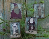Folk Art Primitive Santa Ornaments, Christmas Tree Ornaments, Old World Santa Clause Country Christmas Decoration