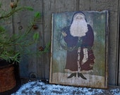 Primitive Christmas Folk Art Santa Wall Hanging Sign, Wooden Picture Print