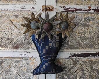 Handmade Primitive Flower Bouquet in Basket Pocket, Primitive Folk Art Decoration