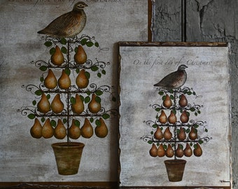 Country Folk Art Christmas Partridge in a Pear Tree Wooden Art Sign, Primitive Christmas Decor
