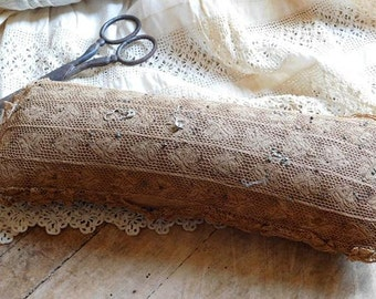 Antique Victorian Pincushion, Pin Keep, Sewing Notions Collectible, Primitive Antique Lace