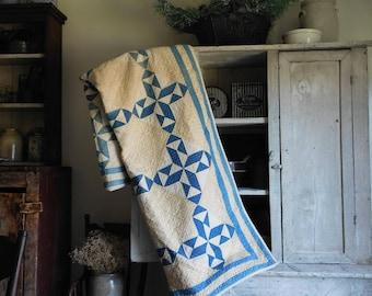 Antique Primitive Blue and White Quilt, Hand Quilted, Farmhouse Antiques