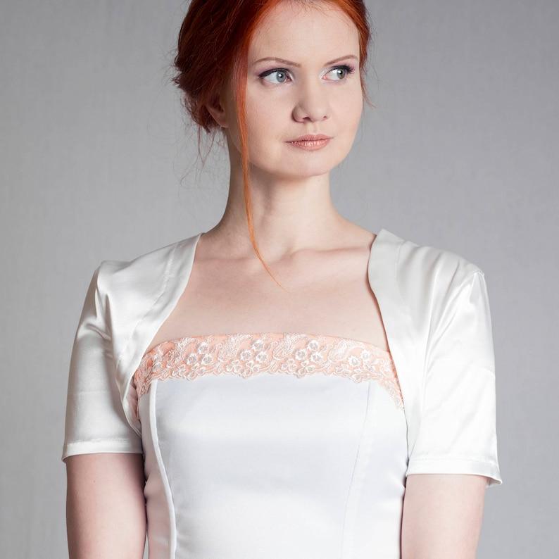 white bridal jacket bridesmaids bolero White wedding bolero silky Satin wedding shrug