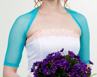 Turquoise bolero, blue wedding shrug, turquoise bridal coverup, Bridesmaids bolero, blue bolero, tulle stretch bolero, bridesmaids bolero