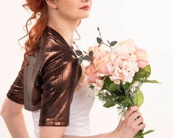 Copper bolero, metallic bolero, brown shrug, glam short sleeve bolero, wedding bolero, bridal bolero, shiny bridesmaids bolero