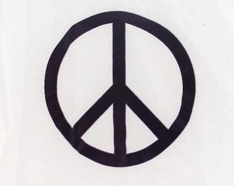 Peace Symbol T-Shirt black on white cotton tee hand printed