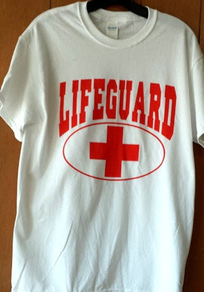 2a01b8e2e32 Lifeguard T-Shirt red on white 100% cotton