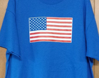 American Flag T-Shirt; hand screen printed on neon blue or navy 100% cotton tee XL