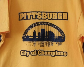 Pittsburgh City of Champions T-Shirt Black on Gold
