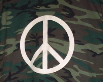 Hand Screenprinted CAMOUFLAGE Peace Symbol tee shirt