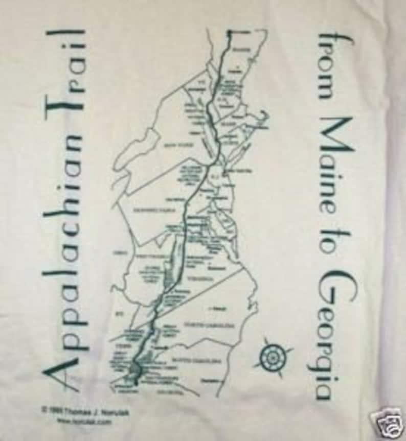 Hand screenprinted Appalachian Trail Map T-shirt image 1