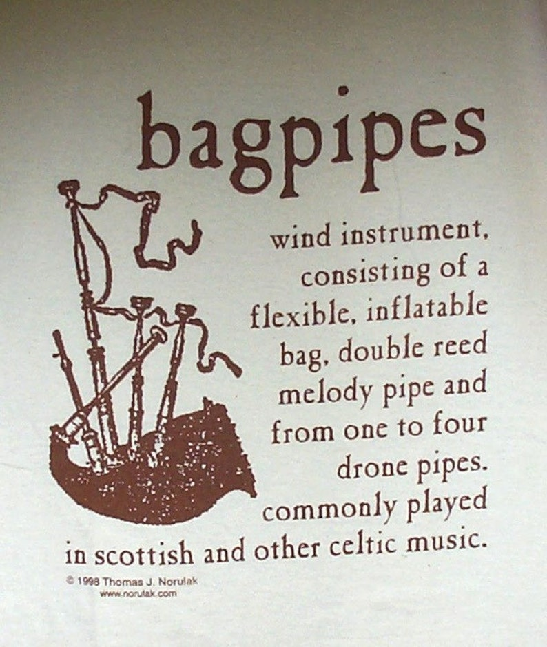 Hand Screened Bagpipe Definition T-Shirt image 0