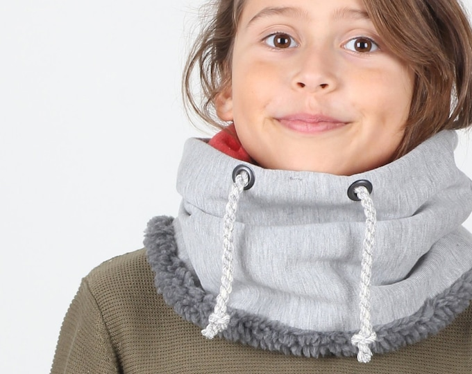 Hoody style neck warmer for pre-teen, boys snood lined with cotton